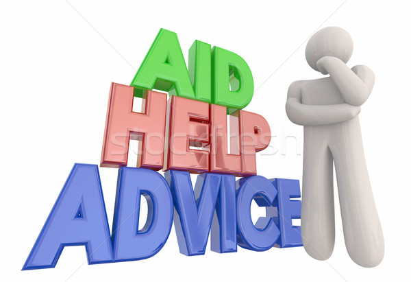 Aid Help Advice Support Assistance Thinker 3d Illustration Stock photo © iqoncept