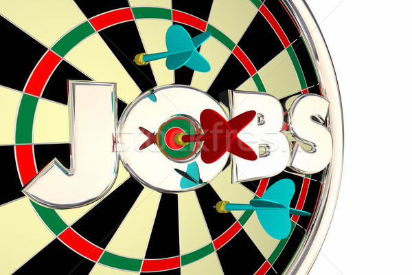 Jobs Hiring Find Seek Career Opportunity Dart Board 3d Illustrat Stock photo © iqoncept