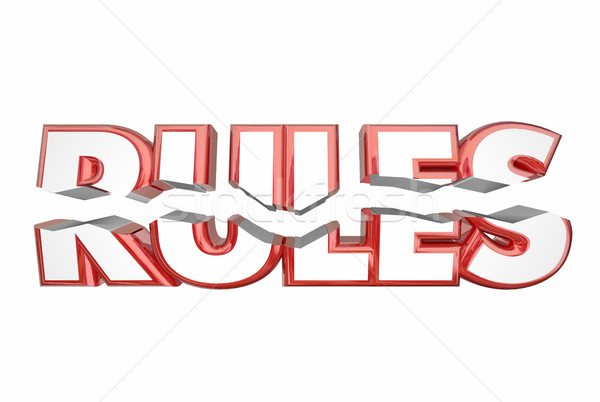 Rules Breaking Laws Illegal Word Cracking 3d Illustration Stock photo © iqoncept