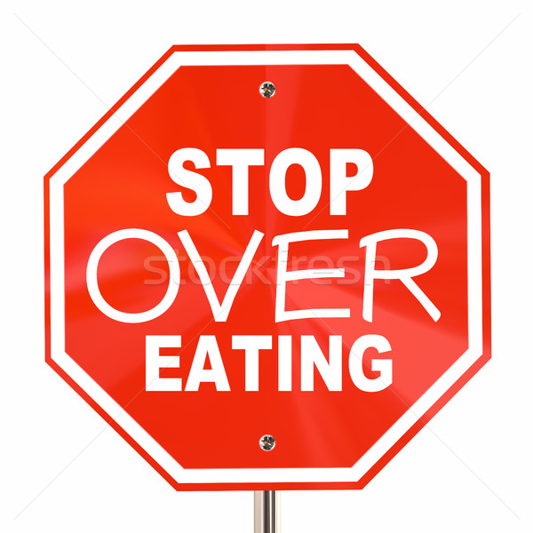 Stop Over Eating Sign End Obesity Diet Cut Calories 3d Illustrat Stock photo © iqoncept