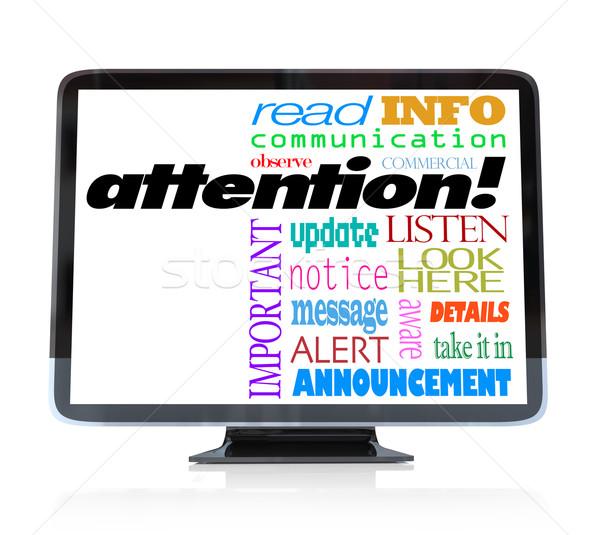Dikkat uyarmak duyuru sözler hdtv televizyon Stok fotoğraf © iqoncept