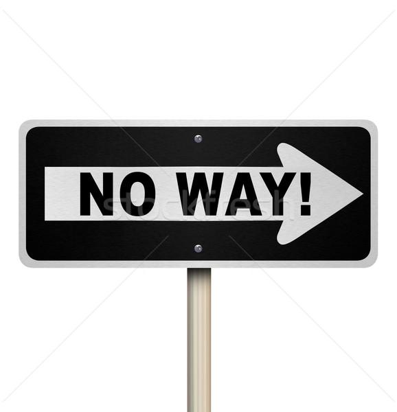 Geen manier straat verkeersbord ontkenning afwijzing Stockfoto © iqoncept