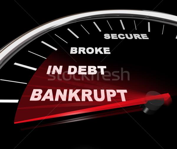 Csőd pénzügyi sebességmérő tű lefelé múlt Stock fotó © iqoncept
