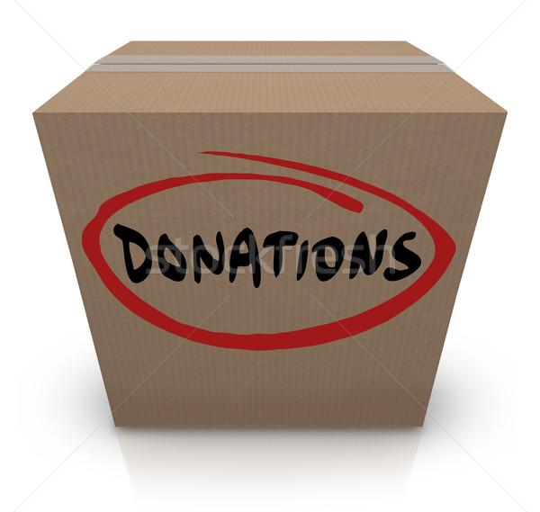 Donaciones caja de cartón alimentos caridad unidad palabra Foto stock © iqoncept