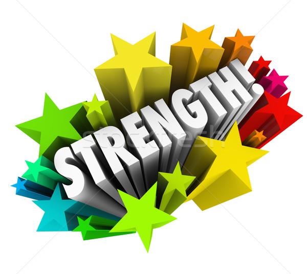 Foto stock: Fuerza · estrellas · palabra · fuerte · competitivo · ventaja