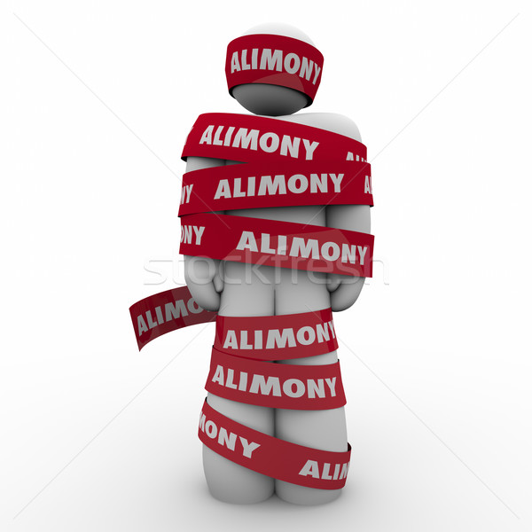 Alimony Man Wrapped in Red Tape Caught Trapped Ex Wife Spousal S Stock photo © iqoncept