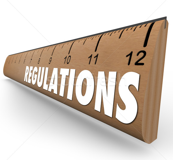 Regulations Word Wooden Ruler Measurement Rules Guidelines Stock photo © iqoncept