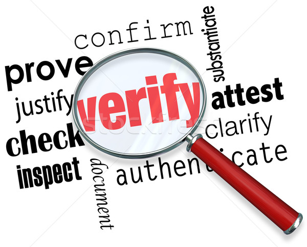 Verify Word Magnifying Glass Certify Prove Check Inspect Stock photo © iqoncept