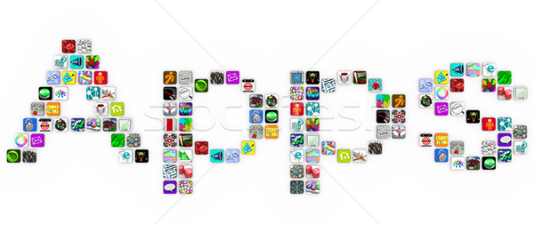 Apps - Tile Icons Form Word on White Background  Stock photo © iqoncept