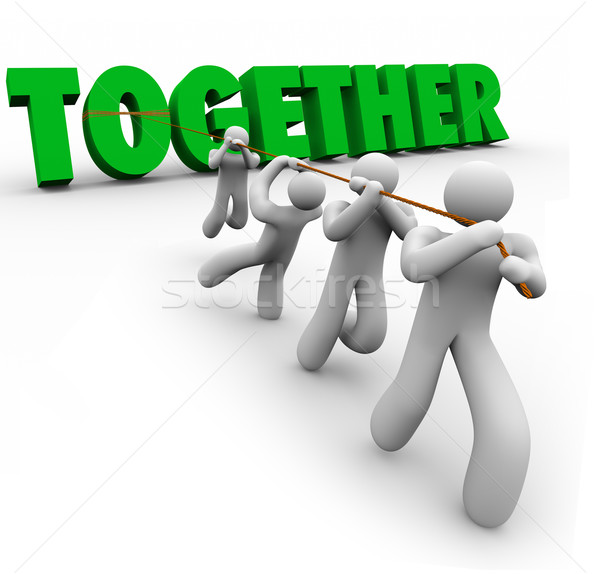 Team Puling Together Word Lifting 3d Letters Strength in Numbers Stock photo © iqoncept