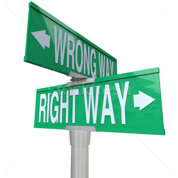 Right vs Wrong Way - Two-Way Street Sign Stock photo © iqoncept