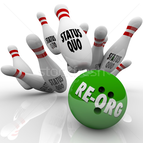Re-Org Words Bowling Ball Striking Status Quo Organization Pins Stock photo © iqoncept