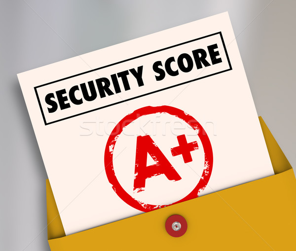 Stock photo: Security Score Report Card A Plus Great Secure Safety Rating