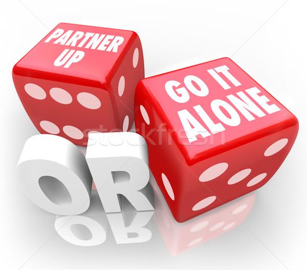 Partner felfelé egyedül kettő piros kocka Stock fotó © iqoncept