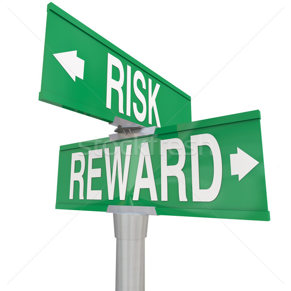 Risk Vs Reward Two 2 Way Road Street Signs ROI Investment Stock photo © iqoncept