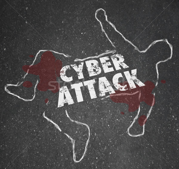 Cyberattack Chalk Outline Hacking Computer Network Internet Crim Stock photo © iqoncept