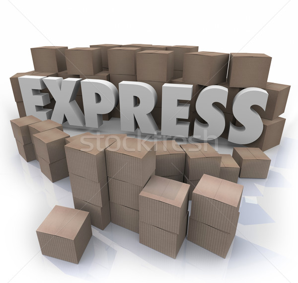 Express 3d Word Cardboard Boxes Expedited Fast Delivery Service Stock photo © iqoncept
