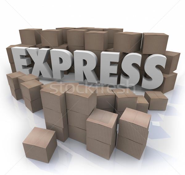 Expressz 3D szó karton dobozok gyors Stock fotó © iqoncept