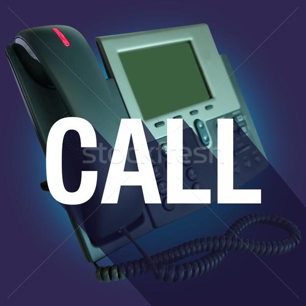 Połączenia telefonu długo cień słowo Zdjęcia stock © iqoncept