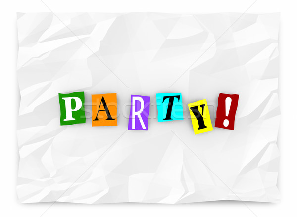 Party Invitation Ransom Note Cutout Letters Words 3d Illustratio Stock photo © iqoncept