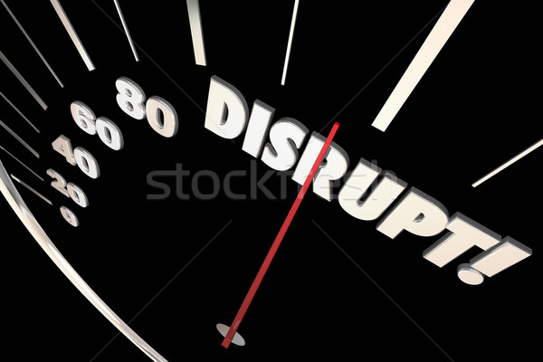 Disrupt Speedometer Change Innovate Evolve 3d Illustration Stock photo © iqoncept