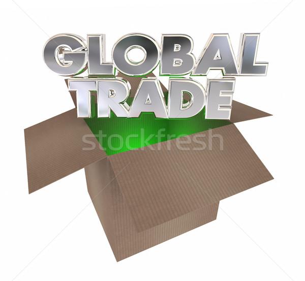 La nivel mondial comerţului cutie de carton internaţional 3D Imagine de stoc © iqoncept