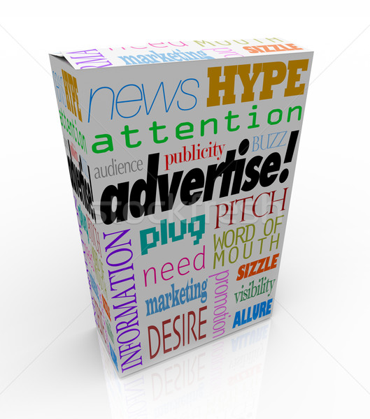 Advertise Marketing Words on Product Box for Sale Stock photo © iqoncept