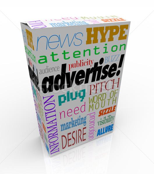 Duyurmak pazarlama sözler ürün kutu satış Stok fotoğraf © iqoncept