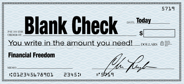 Blank Check - Financial Freedom from Wealth Stock photo © iqoncept