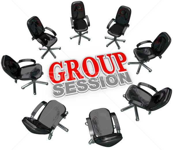 Stockfoto: Groep · vergadering · stoelen · cirkel · discussie · aantal