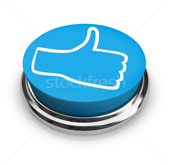 Like It - Thumbs Up Icon on Round Blue Button Stock photo © iqoncept