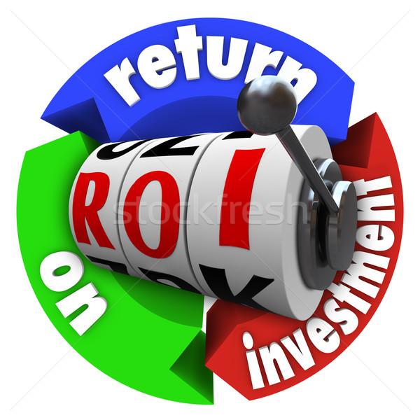 Roi visszatérés beruházás játékautomata szavak betűszó Stock fotó © iqoncept