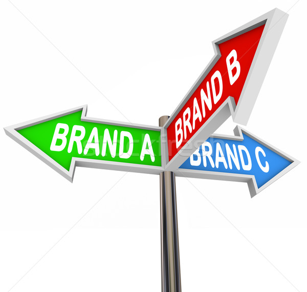 Choose Favorite Brand Street Signs Uncertainty Confusion Stock photo © iqoncept