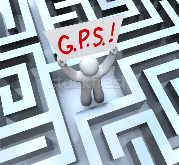 G.P.S. Global Positioning System Person Lost in Maze Stock photo © iqoncept
