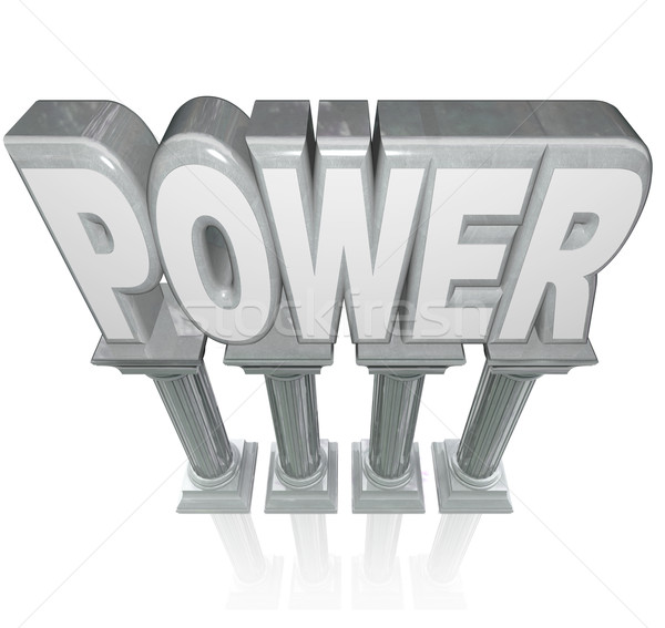 Power Word Granite Marble Columns Powerful Strength Stock photo © iqoncept