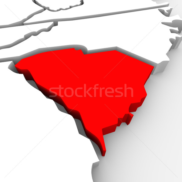 South Carolina Red Abstract 3D State Map United States America Stock photo © iqoncept