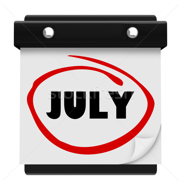 July Word Wall Calendar Change Month Schedule Stock photo © iqoncept