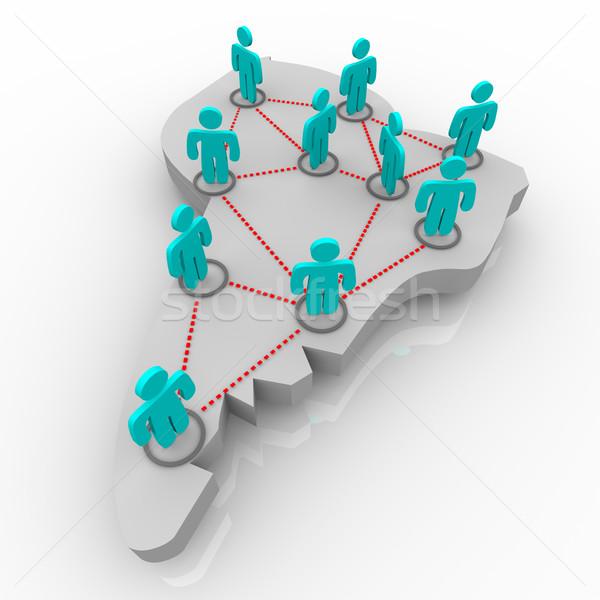 Térkép dél-amerika hálózat emberek áll földgömb Stock fotó © iqoncept