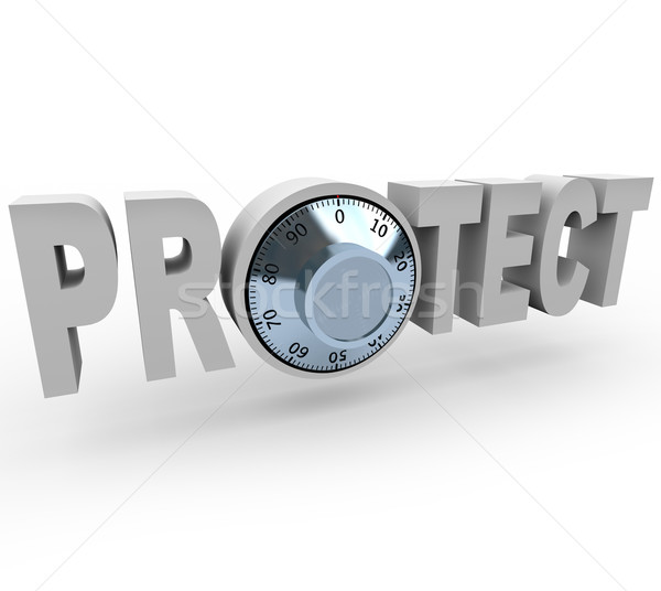 Stock photo: Protect - Word and Safe Dials