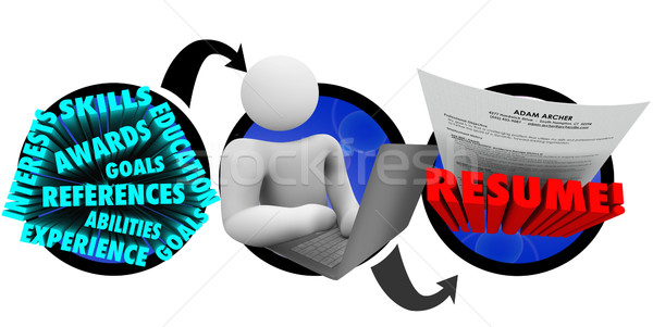 Person Creating Resume Steps How to Write Best Document Stock photo © iqoncept