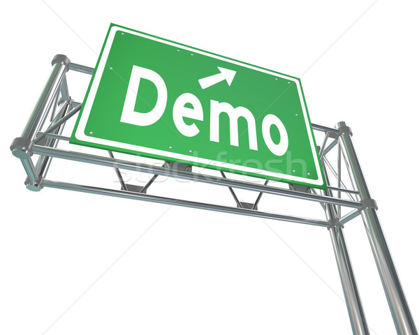 Stock photo: Demo Word Green Freeway Sign Product Demonstration Free Trial
