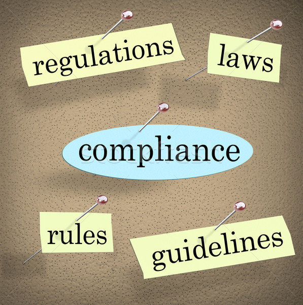 Compliance Rules Regulations Laws Guidelines Bulletin Board Stock photo © iqoncept