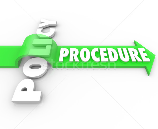 Procedure Arrow Jumping Over Policy Word Practice Process Stock photo © iqoncept