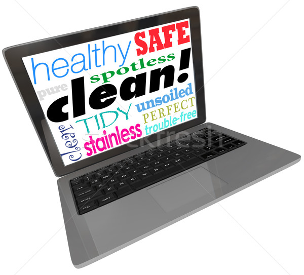 Clean Words Computer Laptop Screen Safe Website Virus Free Stock photo © iqoncept