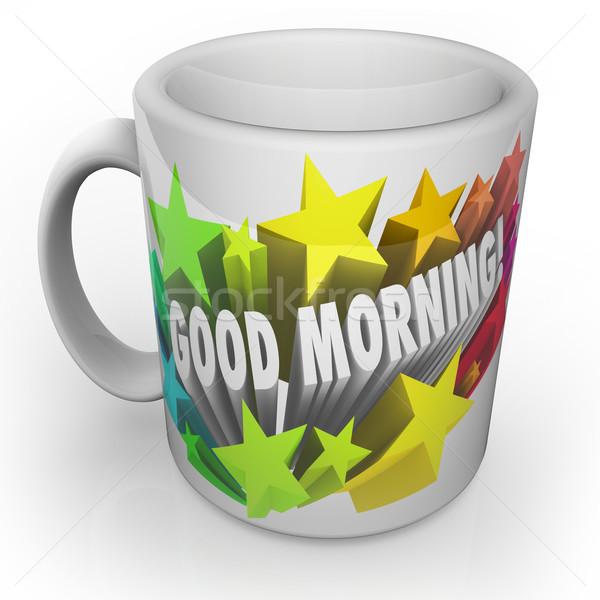 Bonjour tasse de café commencer nouvelle jour fraîches Photo stock © iqoncept