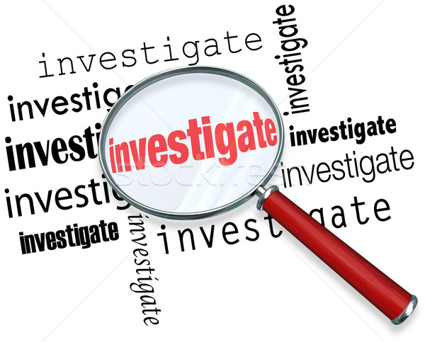 Investigate Word Magnifying Glass Close Inspection Facts Stock photo © iqoncept