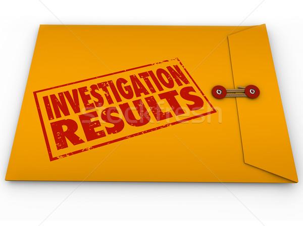 Nyomozás eredmények citromsárga boríték kutatás jelentés Stock fotó © iqoncept