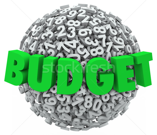 Budget Word 3d Letters Number Ball Sphere Accounting Reduce Cost Stock photo © iqoncept
