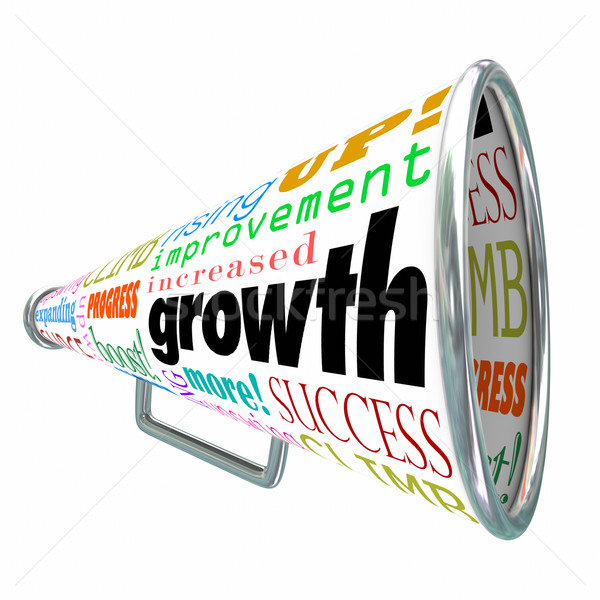 Growth Words Bullhorn Megaphone Increase Improve Rise Up Stock photo © iqoncept