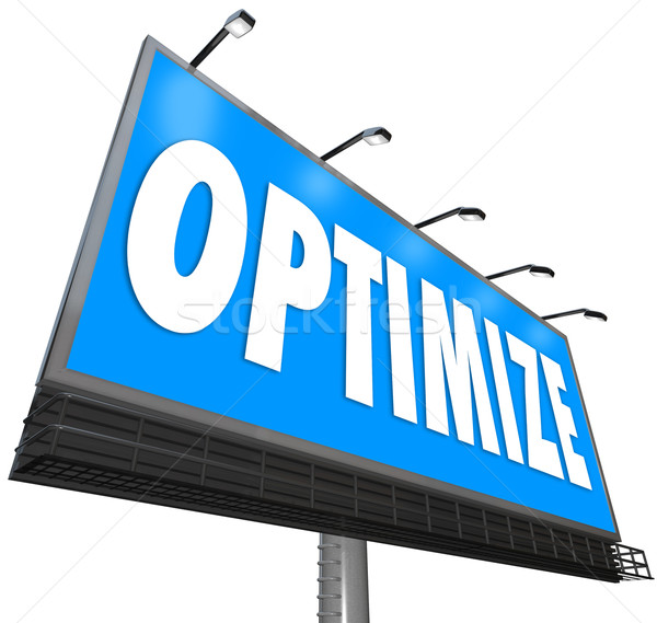 Optimize Word Billboard Perfect Revising Optimization Search Cap Stock photo © iqoncept